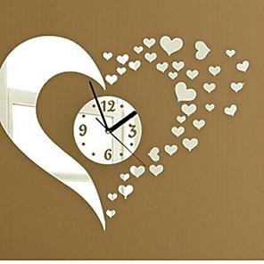 ieftine Ustensile & Gadget-uri de Copt-ceasuri de perete autocolante decalcomanii de perete, moda 3d inima oglinda acrilice autocolante de perete