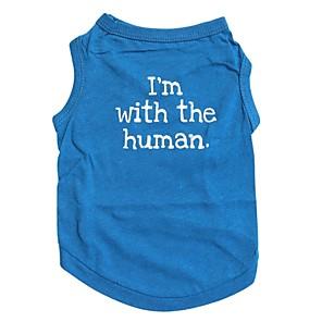 ieftine Îngrijire Unghii-Pisici Câine Tricou Îmbrăcăminte Câini Respirabil Albastru Costume Bumbac Literă & Număr XS S M L