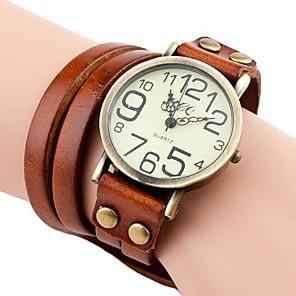 ieftine Cuarț ceasuri-Pentru femei Ceas Brățară ceasul cu ceas Quartz femei Ceas Casual Piele PU Matlasată Negru / Alb / Albastru Analog - Maro Deschis Maro Închis Alb
