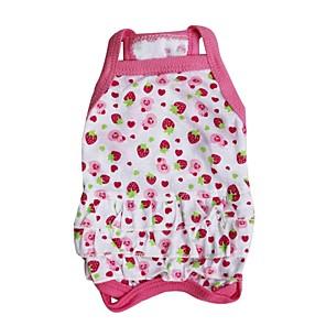 ieftine Ștanțare-Pisici Câine Rochii Îmbrăcăminte Câini Respirabil Roz Costume Bumbac Fruct Nuntă XS S M L