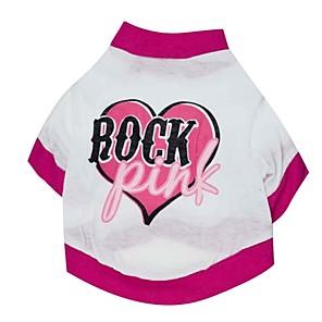 ieftine Imbracaminte & Accesorii Căței-Pisici Câine Tricou Inimă Îmbrăcăminte Câini Respirabil Alb Costume Bumbac XS S M L