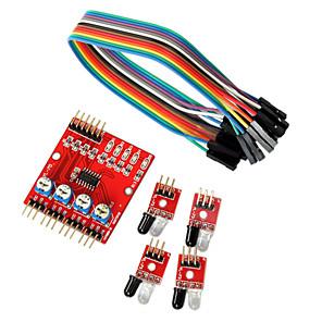 ieftine Accesorii-4-way senzori robot de module de linie de transmisie în infraroșu de urmărire auto pentru Arduino