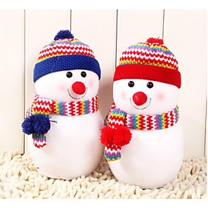 billige Herreure-lille størrelse udsøgt snemand med strikhue dukke pude julegave (1 stk)