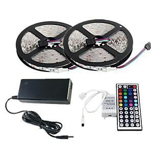povoljno LED trakasta svjetla-zdm 2x5m setovi svjetla 60pcs / metri 2835 rgb smd 8mm led sa 44key ir kontrolerom 12v 3a desktop napajanje soft soft light strip