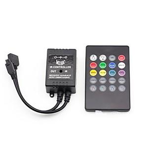 hesapli LED Şerit Aksesuarları-led rgb ışık şeridi için siyah müzik denetleyicisi müzik senkronizasyonu renk değişimi denetleyicisi ir 20 anahtar denetleyicisi ile ses denetleyicisi dc12v