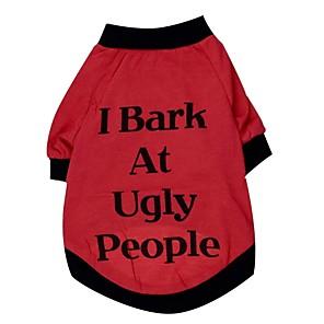 ieftine Imbracaminte & Accesorii Căței-Pisici Câine Tricou Îmbrăcăminte Câini Respirabil Rosu Costume Câine mare Bumbac Literă & Număr Halloween XL XXL XXXL XXXXL XXXXXL