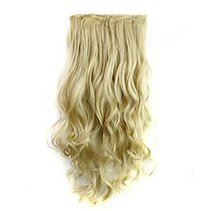 ieftine Peruci & Extensii de Păr-Extensii sintetice Buclat Clasic Păr Sintetic 24 inch Extensie de păr Agață În / Pe Blond Pentru femei Zilnic / Fără calotă