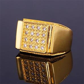 povoljno Prstenje-Muškarci Band Ring prsten za palac Kubični Zirconia Zlatan Srebro Zircon Kubični Zirconia Platinum Plated Geometric Shape Statement dame Personalized Vjenčanje Party Jewelry / Pozlaćeni / Pozlaćeni