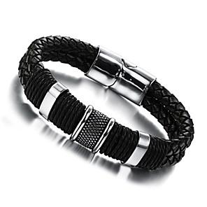 ieftine Brățări-Bărbați Bratari din piele țesut Design Unic Modă Piele  Bijuterii brățară Argintiu / negru Pentru Nuntă Petrecere Zilnic Casual Sport / Oțel titan