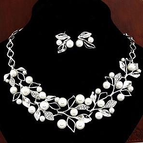ieftine Seturi de Bijuterii-Pentru femei Alb Perle Seturi de bijuterii Cercei Picătură Coliere cu Pandativ femei Elegant de Mireasă Perle Diamante Artificiale cercei Bijuterii Argintiu Pentru Nuntă Petrecere Cadou Zilnic Bal