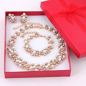 ieftine Seturi de Bijuterii-Pentru femei Multicolor Perle Seturi de bijuterii Cercei Picătură Brățări cu Mărgele femei Elegant de Mireasă Perle Ștras Placat Auriu cercei Bijuterii Auriu / Alb Pentru Nuntă Petrecere Ocazie