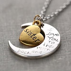 ieftine Colier la Modă-Pentru femei Coliere cu Pandativ Monogramă Gravat MOON Inimă Iubire Semilună Te iubesc până la lună și înapoi femei Personalizat Modă Aliaj Auriu / Argintiu Coliere Bijuterii 1 buc Pentru Cadou