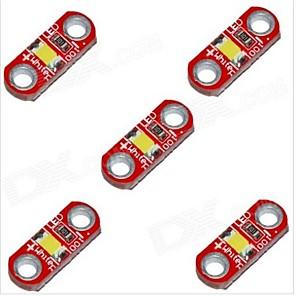 cheap Modules-HZLED 5V 40mA 3000K 400-500MCD Warm White Mini 3000K LED Module - Red (5 PCS)