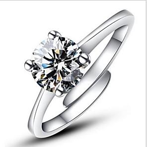 ieftine Inele-Pentru femei Inel de declarație Inel de logodna inel de înfășurare Argintiu Plastic Diamante Artificiale Montaj de Patru femei Clasic Modă Nuntă Petrecere Bijuterii Solitaire Rundă simulat Iubire