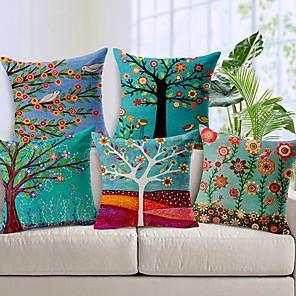 povoljno Zidni ukrasi-paket od 5, zemlja pastoral stilu pamuk platno dekorativni četvornih baciti jastuk pokriva set jastuk slučaj za kauč spavaća soba auto