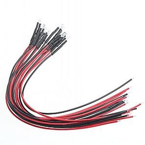 ieftine Conectoare & Terminale-indicator modificare masina DIY lumină roșie 5mm condus becuri multicolore (12V) (10 piese)