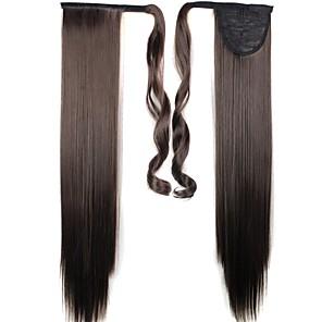 ieftine Extensii de Păr-Maro Închis Drept Coadă de cal Sintetic Fir de păr Extensie de păr