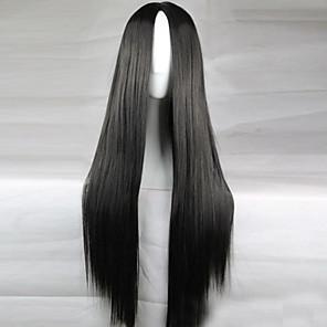 ieftine Peruci & Extensii de Păr-Peruci Sintetice Drept Kardashian Stil Frizură Asimetrică Perucă Negru Păr Sintetic 28 inch Pentru femei Linia naturală de păr Negru Perucă Lung
