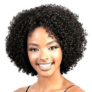 hesapli Peruklar ve Saç Postijleri-Sentetik Peruklar Bukle Kinky Curly Gevşek Dalgalar Kinky Kıvırcık Bukle Asimetrik Saç Kesimi Orta kısım Peruk Şort Siyah Sentetik Saç 10 inç Kadın's Doğal saç çizgisi Afrp Amerikan Peruk Siyah