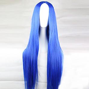 economico Portachiavi-Parrucche Cosplay Parrucche sintetiche Liscio Dritto Taglio asimmetrico Parrucca Lungo Azzurro chiaro Capelli sintetici 28 pollice Per donna Attaccatura dei capelli naturale Blu