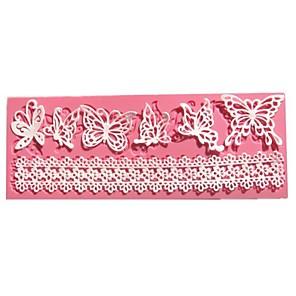 ieftine Ustensile & Gadget-uri de Copt-silueta fluture fondant mucegai dantelă tort de nunta decorare instrumente