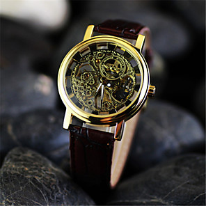 ieftine Ceasuri Bărbați-Bărbați Ceas Schelet Ceas de Mână ceas mecanic Mecanism manual Piele Maro Gravură scobită Analog Charm - Negru Argintiu Auriu