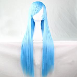 povoljno Halloween smink-Cosplay perika Sintetičke perike Ravan kroj Ravan kroj Asimetrična frizura Perika Dug Sky blue Sintentička kosa 28 inch Žene Prirodna linija za kosu Plava