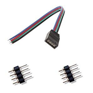 ieftine Conectori-4 pini femal colorat conector lumini LED + 2 x 4 pini conector tată pentru RGB 5050/3528 a condus lumina benzi conectare