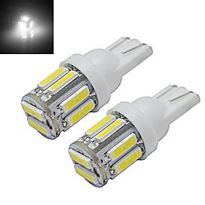 ieftine Becuri De Mașină LED-2pcs 1w t10 condus w5w bulbi auto wedge hartă lampă lumină 10 leds smd 7020 rece alb dc 12v
