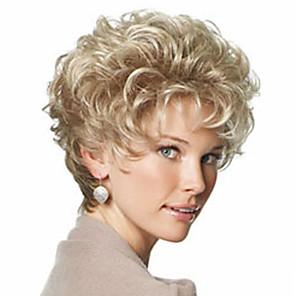 hesapli Peruklar ve Saç Postijleri-Sentetik Peruklar Bukle Kinky Curly Kinky Kıvırcık Bukle Bantlı Peruk Sarışın Şort Açık Sarı Sentetik Saç 8 inç Kadın's Patlama ile Sarışın StrongBeauty