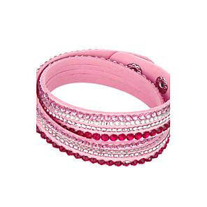 billiga Armband-Dam Kristall Armband av Remmar Läder Armband Multi lager stapelbar Billig damer Unik design Grundläggande Mode Multi lager Kristall Armband Smycken Rosa / Ljusblå / ljusgrön Till Julklappar Party