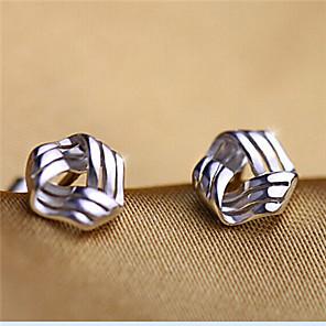 ieftine Cercei-Pentru femei Cercei Stud Răsucit Iubire femei stil minimalist Cute Stil Plastic Argintiu cercei Bijuterii Argintiu Pentru Petrecere Zilnic Casual