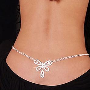 ieftine Colier la Modă-Lanț de Talie Corp lanț / burtă lanț femei Design Unic Modă Pentru femei Bijuterii de corp Pentru Cadouri de Crăciun Zilnic Ștras Diamante Artificiale Inimă Nod Funda Alb / Lanț Talie