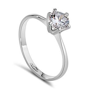 ieftine Inele-Pentru femei Inel de declarație Diamant sintetic Auriu Argintiu Cristal Zirconiu Cubic Placat cu platină femei Modă de Mireasă Nuntă Petrecere Bijuterii Solitaire Rundă simulat / Aliaj