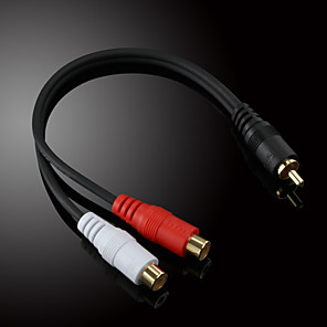 ieftine Audio & Video-jsj® 0,2M 0.656ft masculin RCA la 2x RCA de sex feminin negru cablu audio video pentru înregistrare muzicală