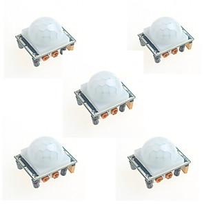 ieftine Module-5pcs hc-sr501 infraroșu modul de inducție corpul uman piroelectric sondei senzor infraroșu pentru Arduino