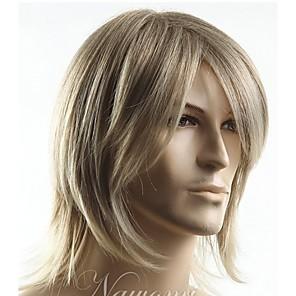 ieftine Peruci & Extensii de Păr-Peruci Sintetice Drept Drept Cu breton Perucă Blond Scurt Blond Păr Sintetic Bărbați Partea laterală Blond StrongBeauty