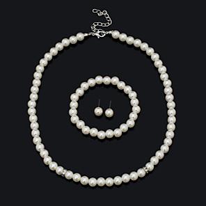 ieftine Seturi de Bijuterii-Pentru femei Set bijuterii Brățară Σκουλαρίκια Coliere - Vintage Draguț Petrecere Birou Casual Declarație Modă European Cu Mărgele Alb