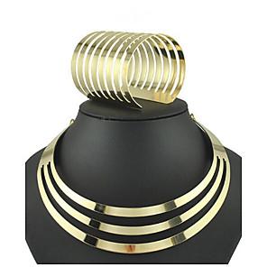 ieftine Cercei-Seturi de bijuterii Coliere Choker Declarație femei Manşetă Vintage Petrecere European cercei Bijuterii Auriu Pentru 1set