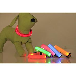 ieftine Câini Gulere, hamuri și Curelușe-Pisici Câine Gulere Lumini LED Ajustabile / Retractabil Mată Nailon Verde Albastru Roz