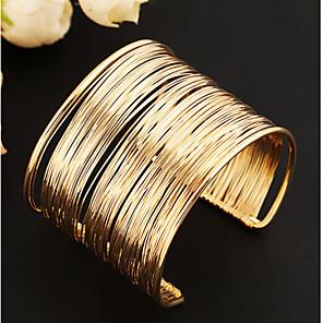 ieftine Colier la Modă-Pentru femei Brățări Bantă Wide Bangle Multistratificat Gol femei Design Unic Vintage Petrecere European Aliaj Bijuterii brățară Auriu / Golden 2 / Argint 2 Pentru Petrecere Zilnic