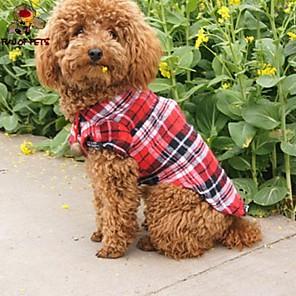 ieftine Lumini de Rulare Zi-Pisici Câine Tricou Îmbrăcăminte Câini Verde Rosu Albastru Costume Bumbac Tartan / Carouri Cosplay Nuntă XS S M L