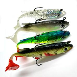 ieftine Momeală Pescuit-4 pcs Δόλωμα Momeală moale shad Jerkbaits moi Scufundare Bass Păstrăv Ştiucă Pescuit mare Filare Pescuit de Apă Dulce Plastic moale / Pescuit Biban