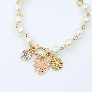 ieftine Brățări-Cristal Brățări cu Lanț & Legături Declarație femei Design Unic Vintage Petrecere 18K Placat cu Aur Bijuterii brățară Auriu Pentru Cadouri de Crăciun / Diamante Artificiale / Perle / Perle / Ștras