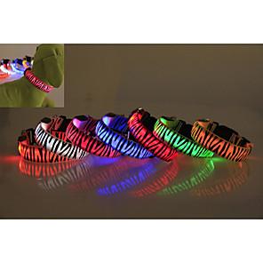 ieftine Câini Gulere, hamuri și Curelușe-Câine Gulere Impermeabil Lumini LED Zebră Nailon Verde Albastru Roz