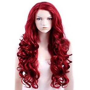 ieftine Peruci & Extensii de Păr-Peruci Sintetice Buclat Partea laterală Perucă Lung Rosu Păr Sintetic Pentru femei Calitate Înaltă Roșu