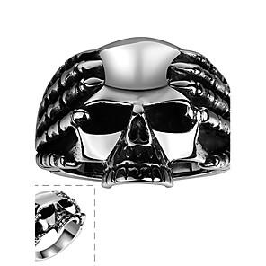 hesapli iPad Kılıfları/Kapakları-Erkek Yüzük Gümüş Paslanmaz Çelik Moda Halloween Günlük Mücevher Kurukafa