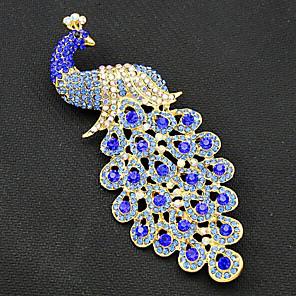 זול סיכות-בגדי ריקוד נשים תפס לשיער טווס וינטאג' אופנתי ציפוי זהב סִכָּה תכשיטים כחול ים עבור Party אירוע מיוחד
