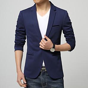 ieftine Produse Fard-Bărbați Blazer Regular Mată Zilnic Muncă Mărime Plus Size Manșon Lung Negru / Albastru Închis / Albastru Deschis M / L / XL / Business Formal / Zvelt