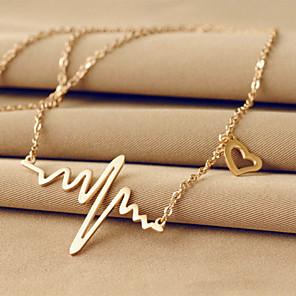ieftine Colier la Modă-Pentru femei Coliere cu Pandativ Nume Inimă Iubire emoţie Plin de graţie femei Design Unic De Bază 18K Placat cu Aur Oțel titan Argintiu Roz trandafiriu Coliere Bijuterii Pentru Nuntă Petrecere